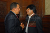 President of Venezuela Hugo Chávez, left, and President of Bolivia Evo Morales, right, at Palacio San Martin for the reception given by President Nestor Kirchner and his wife, President elected Cristina Fernández de Kirchner, Buenos Aires, Argentina, Dec. 9, 2007.(Austral Foto/Horacio Paone)