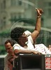Rio de Janeiro Gubernatorial Candidate Benedita da Silva waves to supporters Oct. 6, 2002 in Rio de Janeiro.(Australfoto/Douglas Engle)