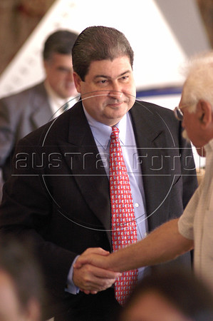 Embratel President Jorge Luis Rodriguez greets people during the presentation of the Embratel Journalism Prize in Rio de Janeiro, Brazil. Rodriguez , born on April 3, 1957, has been the President of Embratel, Brazil's largest long-distance phone operator, since November 1999.  American Telephone operator MCI Inc,, formerly WorldCom Inc., plans to sell its controlling interest in Embratel to Mexico's Telmex (TelŽfonos de Mexico SA) for $360 million in cash. Rodriguez defended the sale of control of the company to Telmex, accusing a Brazilian consortium challenging the deal of monopoly ambitions. (Australfoto/Douglas Engle)