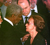 United Nations Secretary General Kofi Annan, left, comforts Gilda de Viera de Mello, mother of Sergio Viera de Mello in Rio de Janeiro, Brazil, Saturday, August 23, 2003.  Sergio Viera de Mello, United Nations special envoy to Iraq, was killed in a terrorist attack on the UN headquarters in Baghdad.(Australfoto/Douglas Engle)