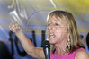 American Activist Medea Benjamin of United for Peace and Justice speaks during the closing cerimony of the World Social Forum, in Porto Alegre, Brazil, Jan. 31, 2005.  The World Social Forum was timed to coincide with its nemesis, the World Economic Forum held thousands of kilometers (miles) away in the swank Swiss mountain resort of Davos. (AustralFoto/Douglas Engle)