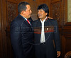 President of Venezuela Hugo Chávez, left, and President of Bolivia Evo Morales, right, at Palacio San Martin for the reception given by President Nestor Kirchner and his wife, President elected Cristina Fernández de Kirchner, Buenos Aires, Argentina, Dec. 9, 2007. (Austral Foto/Horacio Paone)
