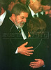 Brazilian President Luiz Inacio Lula da Silva, left, comforts, Gilda de Vieira de Mello, mother of Sergio Viera de Mello in Rio de Janeiro, Brazil, Saturday, August 23, 2003. Sergio Viera de Mello, United Nations special envoy to Iraq, was killed in a terrorist attack on the UN headquarters in Baghdad.(Australfoto/Douglas Engle)