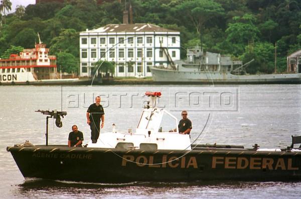 Brazilian Federal Police patrol the Guanabara Bay during the visit of Norwegian Queen Sonja to a shipyard in Niteroi, Brazil.(Douglas Engle/Australfoto)