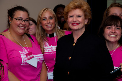 Senator Debbie Stabenow (D) of Michigan greets Michigan Planned Parenthood activists