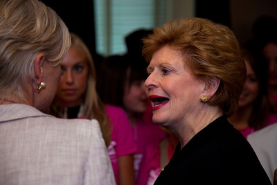Senator Debbie Stabenow (D) of Michigan greets PPFA president Cecile Richards
