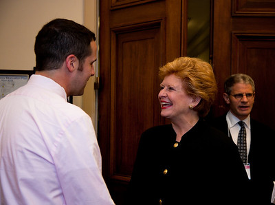 Charles Cook, PPFA Youth Director greets Senator Debbie Stabenow (D) of Michigan