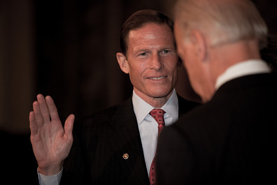 Vice President Joe Biden administered a ceremonial Senate oath during a mock swearing-in ceremony to freshman Senator Richard Blumenthal (D-CN) accompanied by wife Cynthia, on Jan. 5, 2011, in the Old Senate Chamber on Capitol Hill in Washington DC. (Photo by Jeff Malet)