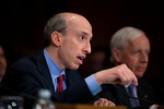 Gary Gensler, chairman of the U.S. Commodity Futures Trading Commission, testifies at the Senate Banking, Housing and Urban Affairs Committee hearing on the Dodd-Frank financial reform law,  ...