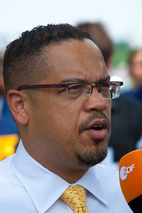 "Rep. Keith Ellison (D-MN) participates at a rally to ""Save the American Dream"" on Capitol Hill in Washington DC on Thursday, July 28, 2011 to tell Democrats to stand strong against Republican debt ceiling proposals that cut Social Security, Medicare and Medicaid while keeping keep tax breaks for millionaires, billionaires and oil companies. Participants included major labor unions such as AFSCME, CWA, AFGE, Teamsters, and various progressive groups such as Move-On, Rebuild the Dream, Jobs with Justice, Gray-Panthers and Code-Pink. (Photo by Jeff Malet)"