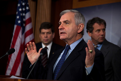 Senator Jack Reed (D-RI) makes a statement at a press conference in support of a middle class only tax cut. Moments earlier in a rare Saturday session, the Senate rejected President O'bama's proposal to end the Bush-era tax breaks on income above $250,000 for couples and $200,000 for individuals. The Senate also rejected an alternative proposal, championed by Sen. Chuck Schumer (D-NY) to end the tax breaks only on income exceeding $1 million. On Capitol Hill in Washington DC, Dec. 4, 2010.  (Photo by Jeff Malet)