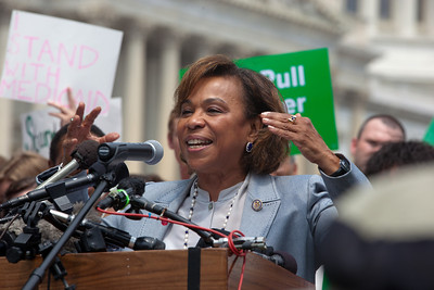 "Rep. Barbara Lee (D-CA) spoke at a rally held outside the Capitol Building in Washington DC on Thursday, July 28, 2011. The rally to ""Save the American Dream"" was organized to tell Democrats to stand strong against Republican debt ceiling proposals that cut Social Security, Medicare and Medicaid while keeping keep tax breaks for millionaires, billionaires and oil companies. Participants included major labor unions such as AFSCME, CWA, AFGE, Teamsters, and various progressive groups such as Move-On, Rebuild the Dream, Jobs with Justice, Gray-Panthers and Code-Pink. (Photo by Jeff Malet)"