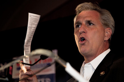"Rep. Kevin McCarthy (R-CA), House Republican Chief Deputy Whip holding the GOP ""Pledge to America"" during RNC Election Night Results Watch event in Washington, DC, on November 2, 2010. Republicans made major gains in state races."