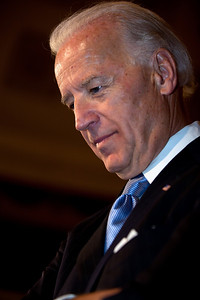 Vice President Joe Biden waits to see if there is anyone else at the conclusion of the ceremonial Senate swearing-in of Senators on Jan. 5, 2011, on Capitol Hill in Washington.  (Photo by Jeff Malet)