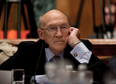 "Alan Simpson, a former Republican senator from Wyoming, was co-chair of President Obama's Debt Reduction Commission. A report issued by the commission to find ways to pull the United States out its massive debt failed to win the 14 votes required to bring it up for a vote in Congress. The commission's final report, titled ""The Moment of Truth."" won the backing of 11 out of 18 members - three short of the supermajority required under the executive order that Obama signed in February when he created the panel. This final meeting of the panel took place on Capitol Hill in Washington DC, Friday, Dec. 3, 2010."