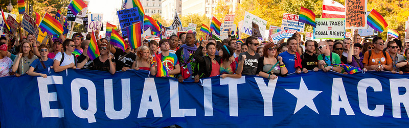 The vanguard of the National Equality March down Pennsylvania Ave. in Washington DC on Oct 11, 2009. The march called for equal protection for lesbian, gay, bisexual, and transgender (LGBT) people in all matters governed by civil law in all 50 states and the District of Columbia.