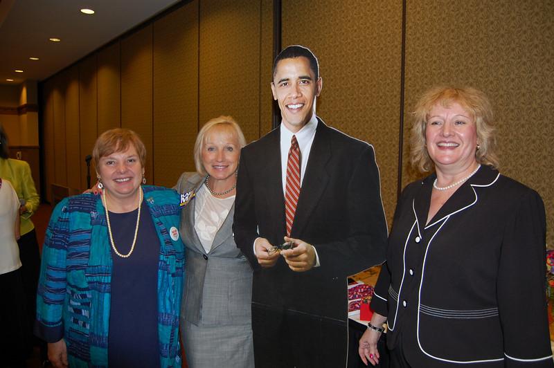 Pat Wenthold, State Representative Karen May, Barack Obama and Jillian Verstrate.