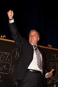 Glen Beck makes a point with the aid of his signature blackboard at the 2010 CPAC Convention in Washington DC.