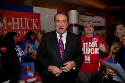 Presidential hopeful Mike Huckabee meets his supporters at the Values Voter Summit in Washington DC on September 17, 2010.  The event was sponsored by the Family Research Council.