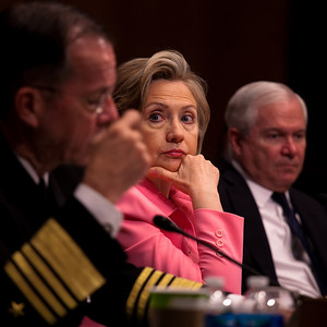 Hillary Clinton seems to take a sidelong glance at the photographer during the 2010 START hearings.