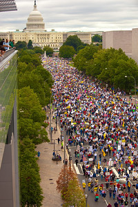 Hundreds of thousands march down Pennsylvania avenue at the Tea Party related 9-12-09 March on Washington