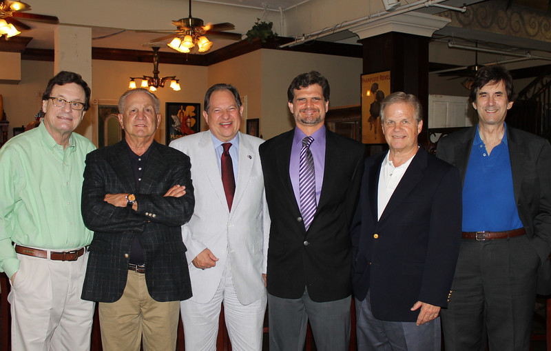 Political consultant Roy Fletcher, pollster Bernie Pinsonat, Louisiana Republican Party chairman Roger Villere, The Dead Pelican editor Chad Rogers, Capital City News editor Woody Jenkins, and Bayou Buzz editor Steve Sadukowsky at Politics with a Punch in Baton Rouge on June 6, 2013.  Photo by Catherine Wheeler
