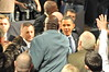 "Daryl Dawkins, ""Chocolate Thunder"" is greeted by President Obama during his trip to Lehigh Carbon Community College, December 4, 2009"