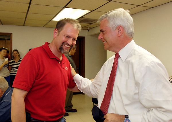 David McIntosh, right, Republican candidate for U.S. Representative, District 5, has a laugh with Kevin Sulc, Madison County candidate for County Council, at the Madison County Republican Headquarters  Tuesday evening.  McIntosh , in a six person race for the district 5 seat won Madison County by more than a 2-to1 margin.