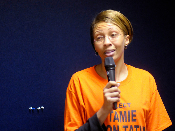Tamie Dixon-Tatum speaks at Democratic Headquarters after unofficial results show her as one of three Democrats to run for County Council At-Large in the general election.