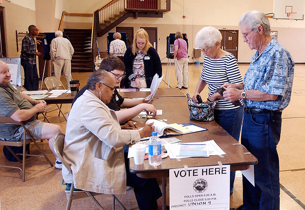 Some voting locations got a rush of voters from time to time, like Union 9 at Bethany Christian Church, where the voting booths were full and more were in line to vote by mid-morning Tuesday.