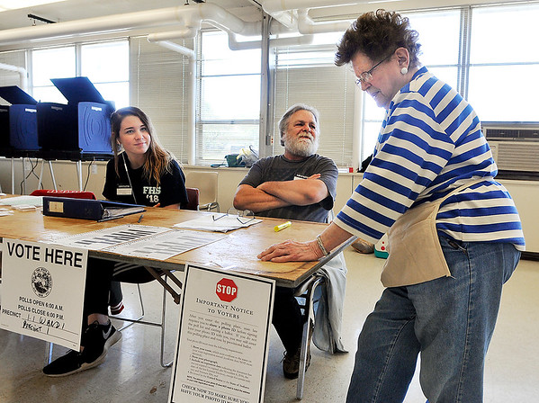 John P. Cleary   The Herald Bulletin<br /> Election Clerk Katie Finney, Clerk Paul Murphy, and Judge Dee Murphy wait patiently for voters to show at Ward 1, Precinct 1 located at the National Guard Armory Tuesday morning.