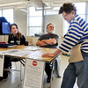 John P. Cleary | The Herald Bulletin<br /> Election Clerk Katie Finney, Clerk Paul Murphy, and Judge Dee Murphy wait patiently for voters to show at Ward 1, Precinct 1 located at the National Guard Armory Tuesday morning.