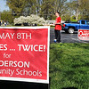 John P. Cleary | The Herald Bulletin<br /> Anderson High School senior Jon Schussler was the only person out working the Ward 1, Precinct 6 poll at East Side Church of God Tuesday morning. Schussler was there promoting the ACS referendum.