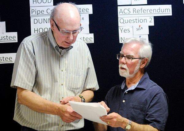 Don Knight   The Herald Bulletin<br /> State Senator Tim Lanane looks over results with Bill Riffe at Democratic Headquarters on Tuesday.