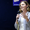 Don Knight | The Herald Bulletin<br /> Lindsey Pancol Madinger thanks her supporters at Democratic Headquarters on Tuesday.