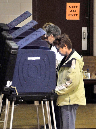 John P. Cleary | The Herald Bulletin<br /> Voters lined up at the machines in Union Twp., Precinct 2 Tuesday morning as a steady turnout of voters came out to Bethany Christian Church.