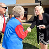 John P. Cleary | The Herald Bulletin<br /> Democratic candidate for State Representative, District 36, Terri Austin, right, greets voters as they enter the National Guard Armory where Ward 1, Precincts 1,4,7 are located.