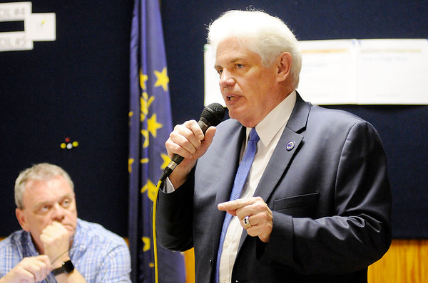 Don Knight   The Herald Bulletin<br /> Anderson Mayor Thomas Broderick Jr. thanks his supporters at Democratic Party headquarters after winning the Democratic primary on Tuesday.