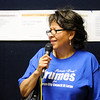 Don Knight | The Herald Bulletin<br /> Rebecca Crumes thanks her supporters after winning one of three spots on the November ballot for City Council At Large on Tuesday.