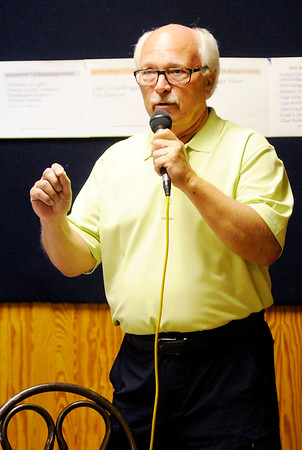 Don Knight | The Herald Bulletin<br /> Rick Muir thanks his wife and supporters after winning one of three spots on the November ballot for City Council At Large on Tuesday.