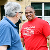 John P. Cleary | The Herald Bulletin <br /> Republican candidate for Anderson City Council District 1 Stephon Blackwell greets voters at the National Guard Armory voting site for Ward 1, Pcts, 1, 4, and 7 Tuesday morning.