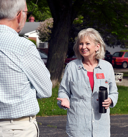 John P. Cleary | The Herald Bulletin <br /> Republican candidate for Anderson City Mayor, JoAnna Gentry Collette, talks with voters at her home precinct of Ward 5, Pct. 3 at St. Matthew United Methodist Church.