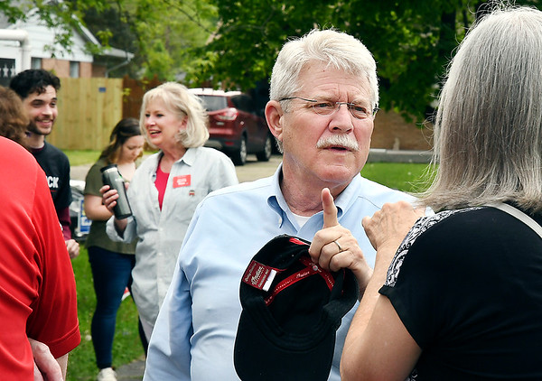 John P. Cleary | The Herald Bulletin <br /> Republican candidates for Anderson City Mayor JoAnna Gentry Collette, background, and Kevin Smith both work Ward 5, Pct. 3 at St. Matthew United Methodist Church Tuesday afternoon.