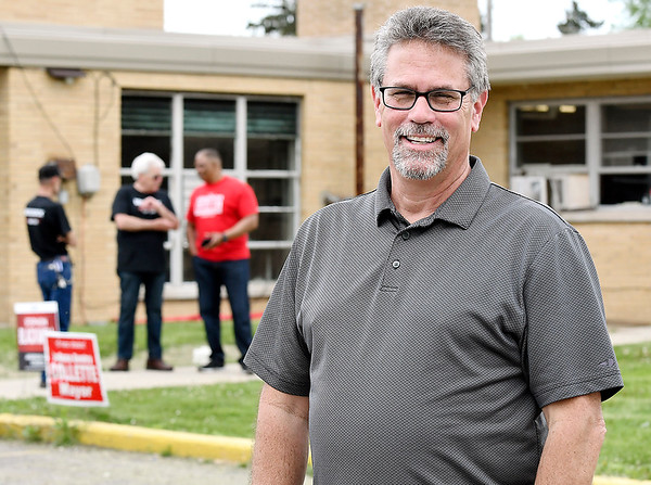 John P. Cleary | The Herald Bulletin <br /> Republican candidate for Anderson City Mayor Rick Gardner waits for voters outside of Ward 1, Pct. 1,4,and 7 at the National Guard Armory Tuesday afternoon.