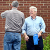 John P. Cleary | The Herald Bulletin <br /> Republican candidate for Anderson City Mayor Kevin Smith has a laugh with a voter as he greets people at Anderson 5-3 Tuesday afternoon.
