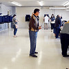 John P. Cleary | The Herald Bulletin <br /> Even with a low-voter turnout predicted for the primary Anderson Ward 1, Pct. 1, 4, and 7 had plenty of activity Tuesday morning since they all vote in the same room at the National Guard Armory.