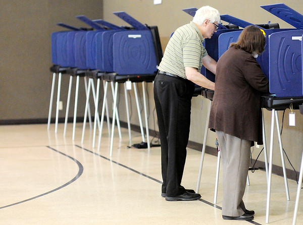 Don Knight   The Herald Bulletin<br /> Voter turnout was light but steady at Anderson Zion Baptist Church on Tuesday afternoon.
