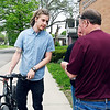 John P. Cleary | The Herald Bulletin <br /> Democrat candidate for Anderson City Council District 4 Ben Orcutt talks to a voter outside of Anderson 6-3 at Fifth Street United Methodist Church.