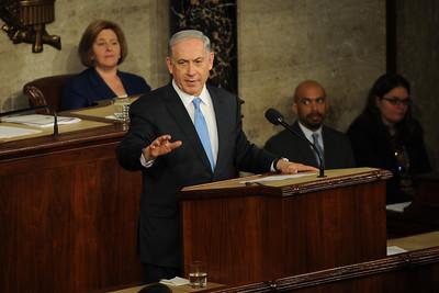 Israeli Prime Minister Benjamin Netanyahu gives his  controversial speech to Congress .