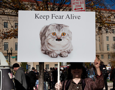"""Imaginative protest signs were ubiquitous among the several hundred thousand who attended a """"Rally to Restore Sanity and/or Fear"""" on the National Mall organized by Comedy Central talk show hosts Jon Stewart and Stephen Colbert  in Washington DC on Saturday, October 30, 2010. This one is a reaction to the overuse of the Hitler motif to make political points."""